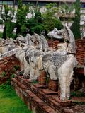 Lion statues in Ayutthaya. Lion statues at Wat Thammikarat in Ayutthaya royalty free stock images
