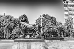 Lion statues of Columbus Monument, Barcelona, Catalonia, Spain. Lion statues at the base of the iconic monument to Christopher Columbus, located at the lower end stock image