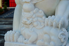 Lion statues. Carved from jade stone & x28;shrine& x29 stock images