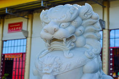 Lion statues. Carved from jade stone & x28;shrine& x29 royalty free stock photography