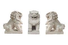 Lion statues in Chinese style on white background. Royalty Free Stock Photo