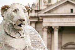 Lion statues of fountain in Piazza del Popolo, Rome. Lion statues of fountain in People`s Squar, Piazza del Popolo, Rome stock photos