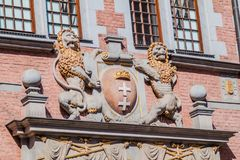 Lion statues at Great Armory in Gdansk, Pola. Nd royalty free stock image