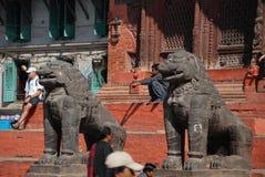 Lion statues in Kathmandu,Nepal Stock Photos