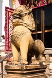 The lion statues made of stone. Royalty Free Stock Photo