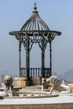 Lion statues stand within the Cairo Citadel in Cairo in Egypt. Lion statues stand within the Cairo Citadel (Citadel of Salah Al-Din) overlooking Cairo in Egypt stock photo