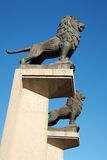 Lion statues at Stone Bridge in Zaragoza Stock Images