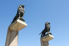Lion statues on the Stone Bridge. In Zaragoza, Spain stock photo