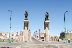 Lion statues on the Stone Bridge. In Zaragoza, Spain stock image
