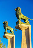 Lion statues at the Stone Bridge in Zaragoza, Spain. Lion statues at the Stone Bridge in Zaragoza - Spain stock photo