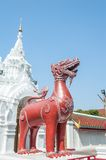 Lion statues in wat lampang. Thailand royalty free stock photos