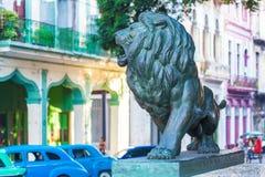 Lion statues (1927) on Paseo del Prado, Havana. Cuba royalty free stock photo