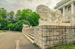 The lion statues by the Yelagin palace. Saint Petersburg, Russia. The lion statues by the Yelagin palace royalty free stock image