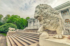The lion statues by the Yelagin palace. Saint Petersburg, Russia. The lion statues by the Yelagin palace royalty free stock photos