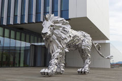 Lion Steel. Statue of Lion Steel - the Lion steel with two tails Royalty Free Stock Photos