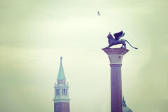 Lion and steeple Royalty Free Stock Image