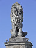 Lion stone 1. Old stone lion statue in front of a blue sky Royalty Free Stock Image