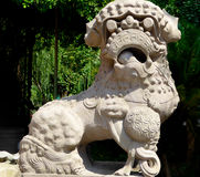 Lion stone carving Stock Photo