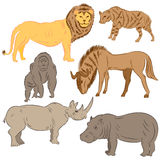 Lion, striped hyena, wildebeest, gorilla, rhinoceros and hippo. Stock Photography