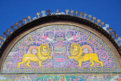 Lion and Sun. Tilework of Lion and Sun at Zinat-ol Molk Mansion in Shiraz,Iran Stock Photos