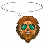 Lion and sunglasses and thinking Stock Images