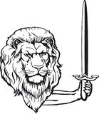 Lion with sword. Safety sign Royalty Free Stock Photo