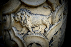 Lion. Symbol carved into one of the pillars at the Yerkes Observatory, part of the University of Chicago, located in Williams Bay, Wisconsin in Walworth County royalty free stock photography
