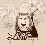 Lion - a symbol of the city of Lvov. Vector lion Royalty Free Stock Photos