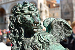 Lion - the symbol of Venice. The symbol of Venice � bronze winged lion on the Saint Mark square Stock Images