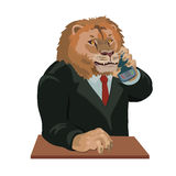 Lion talking on a cell phone Stock Image