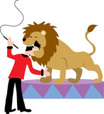 Lion Tamer. Putting his head in a lion's mouth Royalty Free Stock Image