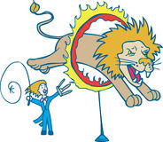Lion Tamer. Trainer with the skills to tame a lion Stock Images