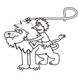 Lion and a tamer. Coloring page, funny illustration Royalty Free Stock Image