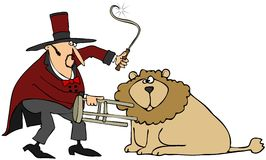 Lion Tamer. This illustration depicts a man with a chair and whip keeping a male lion at bay Stock Photos
