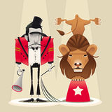 Lion Tamer with lion. Funny cartoon and  circus illustration Royalty Free Stock Images