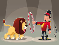 Lion Tamer with lion. Funny cartoon and vector circus illustration Stock Photos