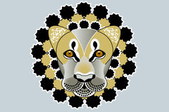 Lion tattoo. Beautiful illustration of lions head with fantasy pattern Stock Photos