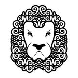 Lion tattoo. Mane ornament. Leo tattooing. wild animal Royalty Free Stock Photo