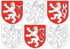 Lion tchèque et blasons semblables Photo libre de droits