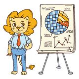 Lion teacher with a board on a tripod. Vector illustration Royalty Free Stock Photo