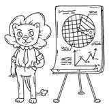 Lion teacher with a board on a tripod. Vector illustration. Coloring page Royalty Free Stock Image