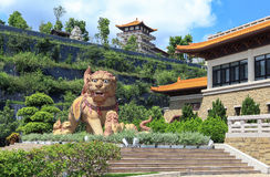 Lion of Temple in Taiwan stock photo