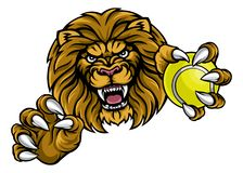 Lion Tennis Ball Sports Mascot Imágenes de archivo libres de regalías