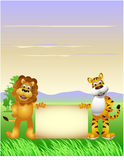 Lion and tiger cartoon Royalty Free Stock Photo