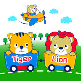 Lion and tiger. Cute lion and tiger are playing together Stock Images