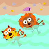 Lion and tiger swims. An illustration of a lion and a tiger swimming in the beach Stock Image