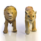 Lion and Tiger Toy Royalty Free Stock Photos