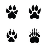 Lion, tiger, wolf, bear footprint. White background Stock Photo