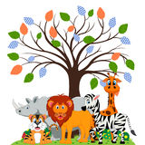 Lion, tiger, zebra, rhino and giraffe were playing under a tree Stock Image