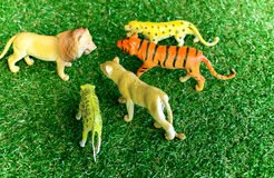Lion and tigers toys on plastic grass Royalty Free Stock Images